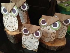 Fun paper bag owl favors at a nature birthday party! See more party planning ideas at CatchMyParty.com!
