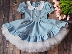 """Dress for a girl / Купить Детское платье """"Ретро"""" - голубой, однотонный, детское платье, платье для девочки, платье для принцессы"""