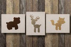 Nursery Printables - Printable 8x10 - Nursery Wall Print - Set of Three - Woodland Nursery - Woodland Creatures - Nursery Decor - Deer Print...