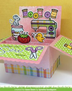 Lawn fawn sewn with love scalloped box card