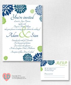 Printable Modern #Navy Blue and #Green #Wedding Invitation by LovingDesignAus on Etsy, $20.00