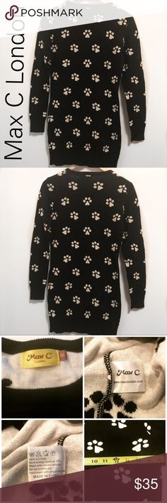 """ASPS BLack/White Paw Print Dress -M Adorable Max C London Paw Print Dress - M . One of a kind 📍in great condition -  no rips stains or wear.  Non smoking home .Measurements laying flat are   Pit to pit - 16"""" Length-31 ASOS Dresses Long Sleeve"""