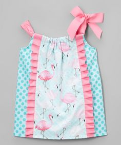 Caught Ya Lookin' Pink & Turquoise Flamingo Pillowcase Dress - Infant & Toddler by Caught Ya Lookin' #zulily #zulilyfinds