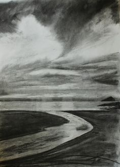 David Muddyman - Wembury Beach, Devon (Charcoal on Paper 47cm x 64cm)