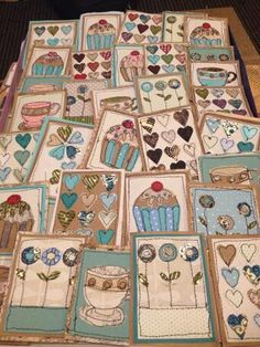 """Stitched paper card designs ready to be stuck into blank cards"" Freehand Machine Embroidery, Free Motion Embroidery, Free Machine Embroidery, Embroidery Applique, Fabric Cards, Fabric Postcards, Sewing Cards, Fabric Pictures, Quilting"