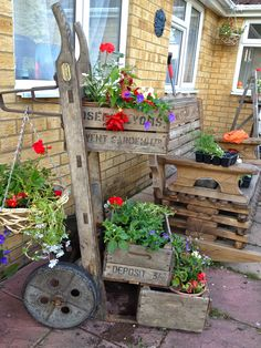 Vintage sack trolley and fruit boxes
