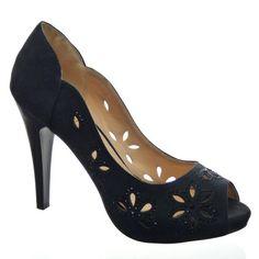 Kickly - damen Mode Schuhe Pumpe Sandalen Strass Schuhabsatz Stiletto high heel - Schwarz T 36 - UK 3.5 Kickly