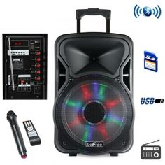 """This beFree Sound multipurpose Bluetooth Portable PA Speaker is designed with 1500 WattsPower P.M.P.O , bringing more power and sound to your party or event.  * USB and MicroSD Car Reader * Metal Grill Covered Speakers * 15"""" Woofer * Inputs:Microphone Connector, AUX-In * 12V Rechargeable Battery * Battery life on half volume approximately 6-8 hours * AC UL Adapter 100-240V * Handel Bars and Wheels * Illuminating lights * Karaoke function * Play, Pause, Rewind, Fast Forward, Shuffle,"""
