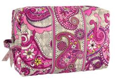 Large Cosmetic | Vera Bradley in Paisley meets Plaid - this came in a set with my Weekender from QVC and it is a WONDERFUL cosmetic bag - I have used this on every trip as well and love it!