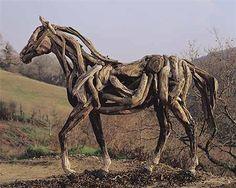 Beautiful horse driftwood sculpture