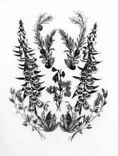 poison plant print english yew, foxglove, columbine, black nightshade, lily o. Herb Tattoo, Plant Tattoo, Tattoo Ink, Wildflower Drawing, Wildflower Tattoo, Incredible Tattoos, Beautiful Tattoos, Oscar Wilde, Nightshade Flower