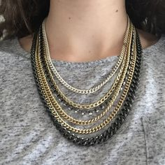 Layered Chain Necklace Fabulous layered chain necklace. Slight discoloration to some parts of the chain but layered effect makes them unnoticeable! Boutique Jewelry Necklaces