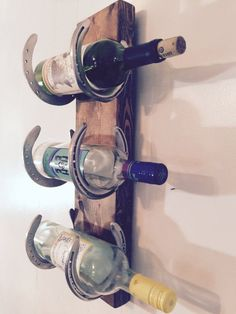 Wine rack Reclaimed Horse Shoes scrap wood by LouisvilleUpcycle                                                                                                                                                                                 More