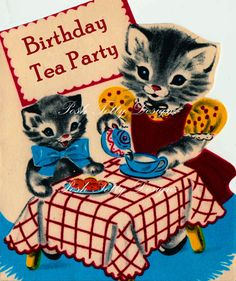 A Kittens Tea Party 1940s Vintage Greetings by poshtottydesignz