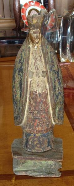 """Spanish Colonial Santos, St Mary. Although very old and weathered, this folk art devotional has a unique beauty and emotional appeal. Hand carved and painted. Philippines 18th or 19th C. @14.75"""" tall"""