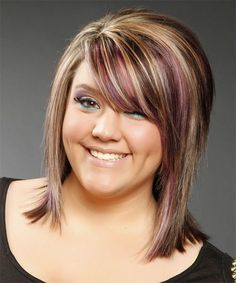 Brown hair with blond and pink highlights