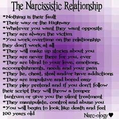 The narcissistic relationship. Nothing is their fault. Their way or the highway. Whatever you want, they want opposite. They are always the victim. You work overtime on the relationship, they don't work at all. They will make up stories about you. They are never there for you, ever. They are blind to your love, emotions, accomplishments, needs & your pain. They lie, cheat, steal and/or have addictions. They are impulsive & bored easy.