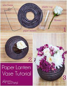 DIY Paper Lantern Vase Centerpiece - Smarty Had A Party Blog