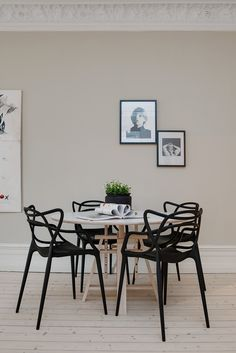 Love the table and the detailed black chairs are beautiful but perhaps too much for 4 - would work for a 2-3 seater  http://feliciamarthedotcom.files.wordpress.com/2014/03/sfdc7d301938c0545f598d51c7a49c4d8a1.jpg