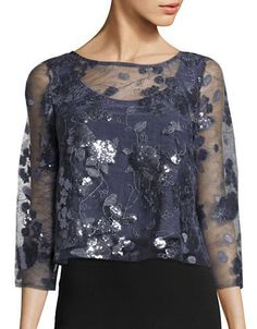 Marina Sequin Floral Crop Top Women's Gunmetal Medium