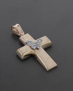 Σταυρός βαπτιστικός ροζ Χρυσός & Λευκόχρυσος K14 με Ζιργκόν Pearl Diamond, Gold Pearl, Wall Crosses, Cross Jewelry, Cross Paintings, Christening, Jewerly, Eyeliner, Artisan