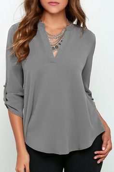 Do you wear blouse? Optimize your comfort and beauty with this Solid Color V Neck Blouse. AZBRO.comwill give you a hot hit !