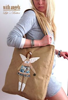 Craft to Inspire: Gorgeous Tildas Handmade Handbags, Handmade Bags, Fabric Bags, Fabric Dolls, Diy Angel Dolls, Homemade Dolls, Fab Bag, Diy Tote Bag, Sewing Leather