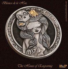 """Hobo Nickel 1937 """" The Girl of the Skull """" Carved by Blanca de la Hoz"""