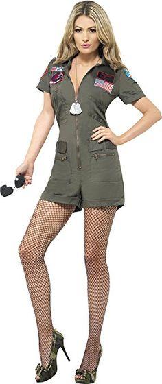 Smiffys, Sexy Damen Top Gun Aviator Kostüm, Playsuit und Sonnenbrille, Top Gun, Größe: S, 27084