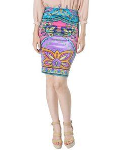 Flying Tomato Bohemian Velvet Pencil Skirt