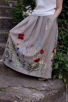 long skirt with floral embroidery by Olga Streltsova Embroidery On Clothes, Embroidered Clothes, Embroidery Fashion, Embroidered Blouse, Embroidery Dress, Ribbon Embroidery, Embroidery Stitches Tutorial, Crewel Embroidery, Hand Embroidery Designs