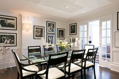 Gorgeous black and white dining room