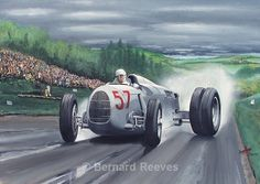 Auto Union at Shelsley Walsh 1936 - Classic cars Rockabilly, Vintage Race Car, Car Drawings, Old Paintings, Automotive Art, Indy Cars, Car Painting, Car Wallpapers, Courses