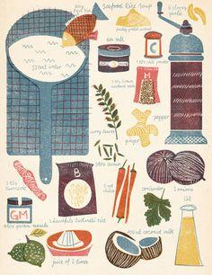 Barbara Dziadosz seafood rice soup🐟🍚 Kawaii Illustration, Pattern Illustration, Graphic Illustration, Rice Soup, Vintage Cookbooks, Food Drawing, Illustrator Tutorials, Food Diary, Food Illustrations