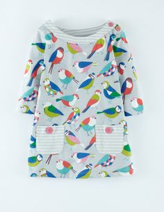Mini Boden Fall 2014 - Jersey Printed Tunic in Light Gray Geo Birds