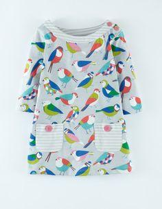 Mini Boden Fall 2014 - Jersey Printed Tunic in Light Gray Geo Birds