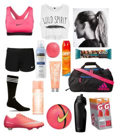 """""""Untitled #10"""" by jackelynponce ❤ liked on Polyvore featuring NIKE, adidas, Eos, Neutrogena and Victoria's Secret PINK"""