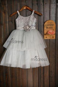 Silver Sequin Grey Tulle TUTU Cupcake Dress Flower Girl Dress Wedding Children Easter Bridesmaid Communion Baptism Dress