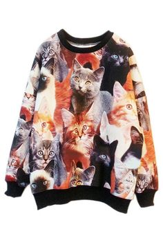 Collaged Cat Sweaters #Fashion #Prints