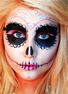 Sugar Skull Makeup Tutorial, hm this might be fun this year! Holidays Halloween, Halloween Make Up, Halloween Face Makeup, Halloween Costumes, Skeleton Costumes, Skeleton Makeup, Halloween Skeletons, Vintage Halloween, Sugar Skull Makeup Tutorial