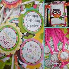 Owl Birthday Party Decorations Package  The by PartyOnPurposeShop, $132.50