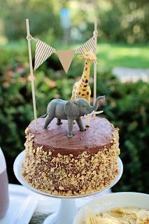 Cute homemade safari cake...And I could do 2 so that they have their own cakes!
