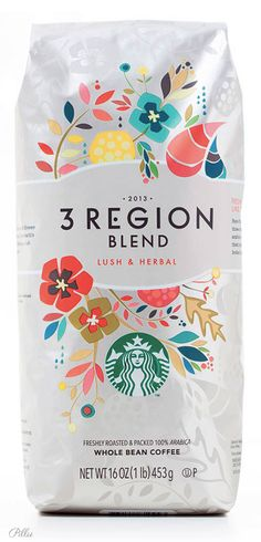 Starbucks /3 Region Whole Bean Coffee. i like the idea of doing this for cocoa beans and hot chocolate mix.