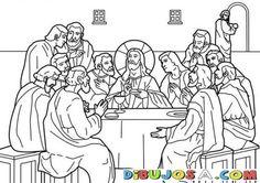 Dibujo de la Santa Centa para colorear | COLOREAR BIBLICOS | Dibujo para Pintar LA ultima Cena de Jesus | dibujosa.com