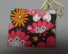 Mini Fabric Wallet Flowers on Chocolate by AlwaysALittleBehind on Etsy