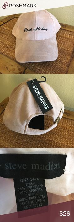 Steve Madden Baseball Hat Blush pink baseball cap. Has a look of suede but is not suede. One size. New, never worn except to try one once. Perfect for the wine lover. Steve Madden Accessories Hats