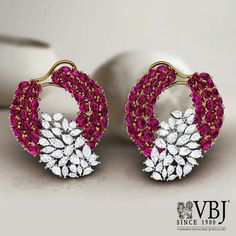 Round Ruby Earrings in Yellow Gold For Women – Fine Jewelry & Collectibles Ruby Earrings, Ruby Jewelry, Diamond Jewelry, Silver Earrings, Dangle Earrings, Jewelery, Diamond Earrings Designs, Silver Jewelry, Fine Jewelry