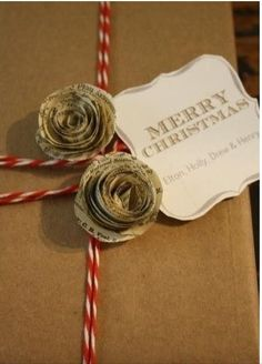 We love this creative DIY gift wrapping for books that involves decorate with roses made from recycled book pages. There are some beautiful Christmas gift wrap ideas in here!