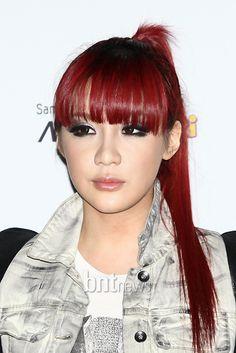 2ne1 Park Bom - red bangs
