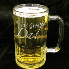 Tell Dad he is the World's Greatest Dad! Perfect father of the bride gift or Father's Day Gift. These mugs are made of heavy glass, perfect for chilling. Personalization available.  Available at:  www.BradGoodellWeddings.com